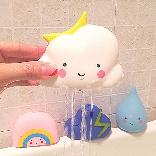 GonPi | Bath Toys | 1 Set Cute Meteorological Toy Cloud Rainbow Drip Lightning Set PVC Baby Bath Toys Water Spray Tools Infant Education Enlightenment Toy