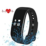 WEMOSI Fitness Tracker - Heart Rate Monitor - Bluetooth Wireless Smart Bracelet - IP67 Water Resistant Activity Tracker - for Android and IOS Smart Phones (Black)