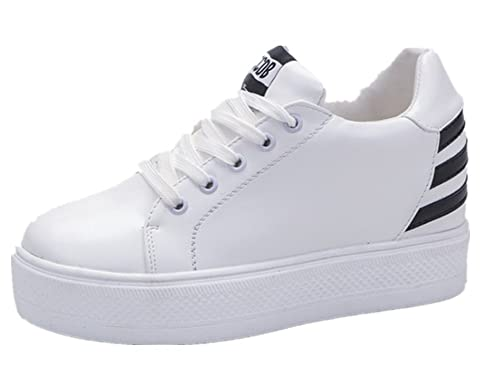 f63ccf0edae3 Mauea Basket Cuir Blanche Montante Compensee Femme Sneakers Lacets  Chaussures Décontractées Tennis Sport Confort