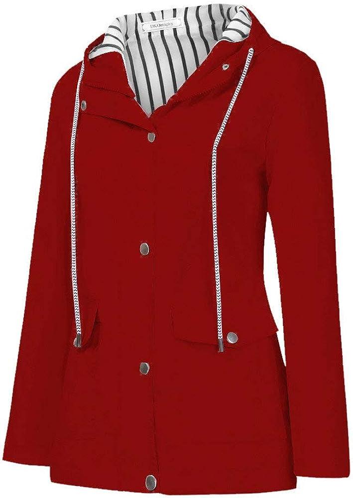 CCOOfhhc Rain Jacket Womens Waterproof Lightweight Hooded Raincoat Striped Lined Outdoor Windbreaker Trench Coats