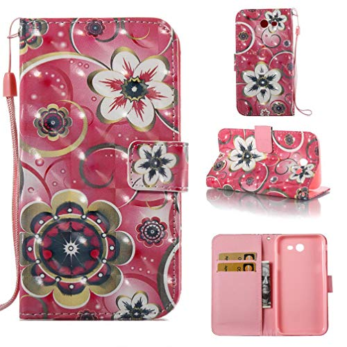 Case for Galaxy J3 2017/J3 Prime/J3 Emerge/J327,[3D Printing] Pu Leather Wallet Case Inner Bumper Card Holder with Wrist Strap & Magnetic Closure Compatible with Samsung Galaxy J3 2017 -Flowers