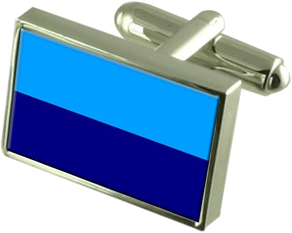 Duran City Ecuador Sterling Silver Flag Cufflinks Engraved Box