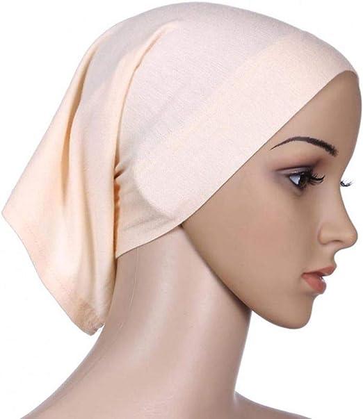 Deinbe Mujeres Pañuelo de Cabeza elástica Sudor Absorbente algodón Underscarf Tubo con tapón de Hijab: Amazon.es: Hogar
