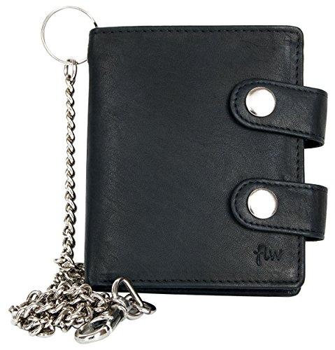 Cartera de bolsillo negro estilo motero de cuero fuerte con cadena de metal