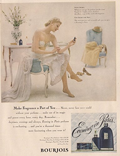 1949 Evening in Paris Perfume: Make Fragrance a Part of You, Bourjois Print Ad