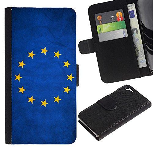 EuroCase - Apple Iphone 5 / 5S - European Union EU Grunge Flag - Cuir PU Coverture Shell Armure Coque Coq Cas Etui Housse Case Cover