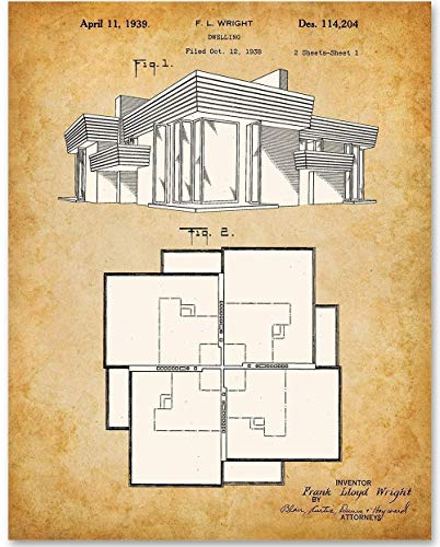 Frank Lloyd Wright Home Blueprint - 11x14 Unframed Patent Print - Great Gift for Architects from Personalized Signs by Lone Star Art
