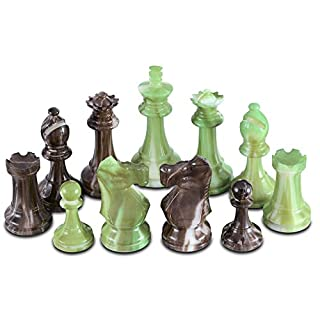 Zeus High Polymer Heavy Weighted Chess Pieces with 3.75 Inch King and Extra Queens, Pieces Only, No Board