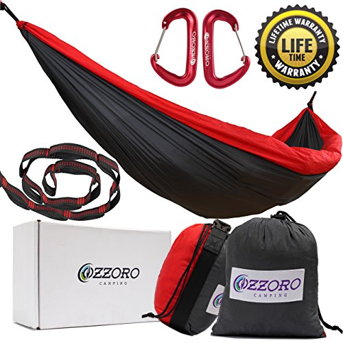Double Hammock With Tree Straps – XL Camping Hammock Lightweight Portable Heavy Duty Two Person Parachute Nylon Hammock For Backpacking Outdoor Camp (Gray/Red)