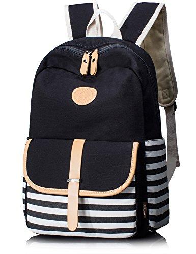 Leaper Cute Thickened Canvas School Backpack Laptop Bag Shoulder Daypack Handbag (L, Black1)