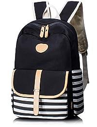 Leaper Thickened Canvas Laptop Bag Cute Stripe Shoulder Daypack School Backpack(Large, Black)