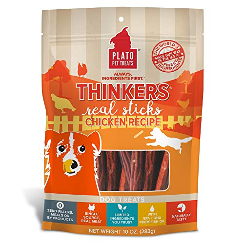 PLATO, Pet Treats, Thinker Sticks Soft Chewy Dog Treats, Air-Dried in USA, Chicken, 10 oz Bag