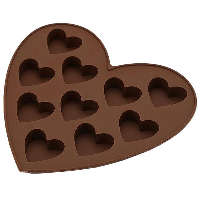 lumanuby 1 pieza Formas, material de silicona Moldes, 10 niedliche Corazón Forma Diseño, Mold tamaño: 15 * 16 * 1.5 cm, color marrón, bonito accesorio de ...
