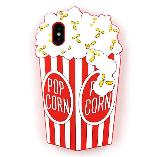 iPhone Xs Case, iPhone X Case 3D Cartoon Cute Vivid Popcorn Shaped Soft Rubber Silicone Case Back Cover for iPhone Xs and iPhone X (5.8) (Popcorn)