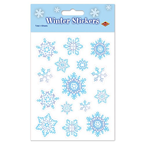 """Beistle 24020 Snowflake Stickers Winter Decorations, Christmas Party Supplies, Envelope Seals, 4.75"""" x 7.5"""", Blue/Grey/White"""