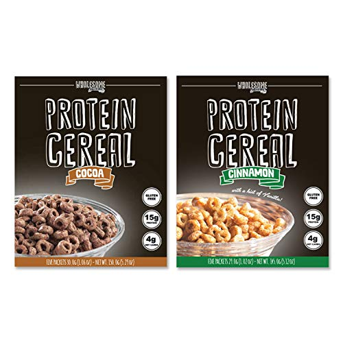 Protein Cereal, Low Carb Cereal, High Protein Cereal, 15g Protein, 4g Net Carbs, High Performance Cereal, 5 Individual Macro-Controlled Packages (2 Pack - Cocoa & Cinnamon)