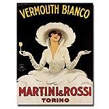 Vermouth Bianco Martini & Rossi by Marcello Dudovich, 14x19-Inch Canvas Wall Art