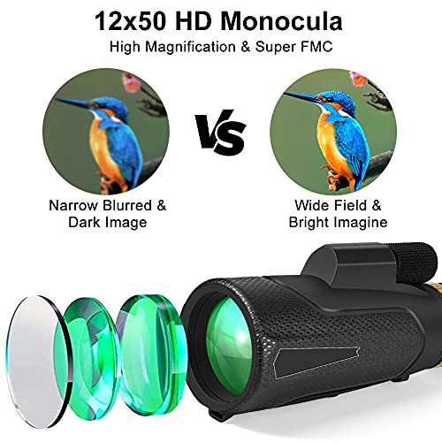 APLOS 12x50 Monocular Telescope with Quick Holder for Smartphone, Low Night Vision Waterproof Fog Cosmic Scope Monoculars for Adults Kids, BAK4 Prism for Bird Watching Hunting, Camping, Hiking