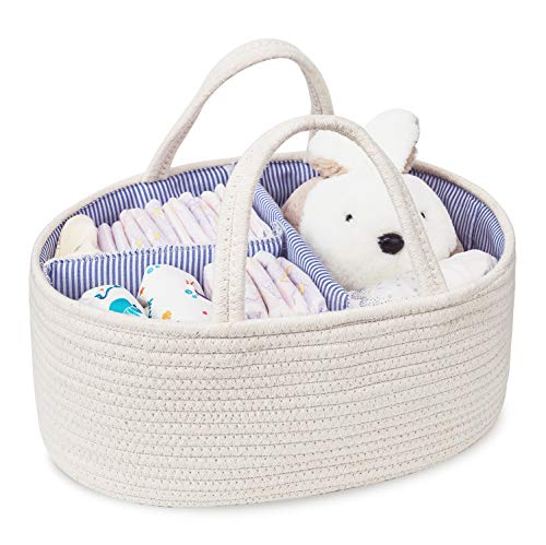 Baby Diaper Caddy Organizer Cotton Rope Storage Basket Nursery Storage Bin for Changing Table and Car