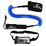 Own the Wave 10' Coiled SUP Leash & Waterproof Phone Bag - Blue