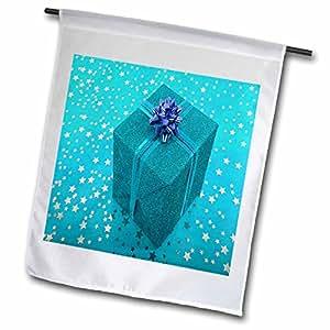 Yves Creations Presents - Baby Blue Starry Present - 18 x 27 inch Garden Flag (fl_6891_2)