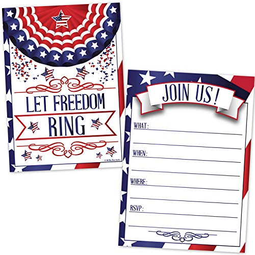 Patriotic Invitations (20 Count with Envelopes) - 4th of July Picnic Invites - Memorial Day Event - Labor Day Celebration - Veteran's Day - Stars and Stripes Let Freedom Ring American Flag Design