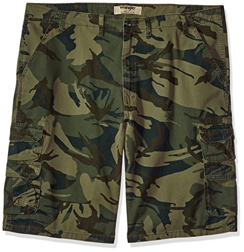 Wrangler Authentics Men's Big and Tall Authentics Bennard Twill Cargo Short, Forest Green Camo, 50