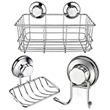 iPEGTOP Strong Suction Cup Shower Caddy Bath Organizer Storage Basket Soap Dish Holder Hooks Stainless Steel Shampoo, Conditioner Bathroom Accessories, Set of 3