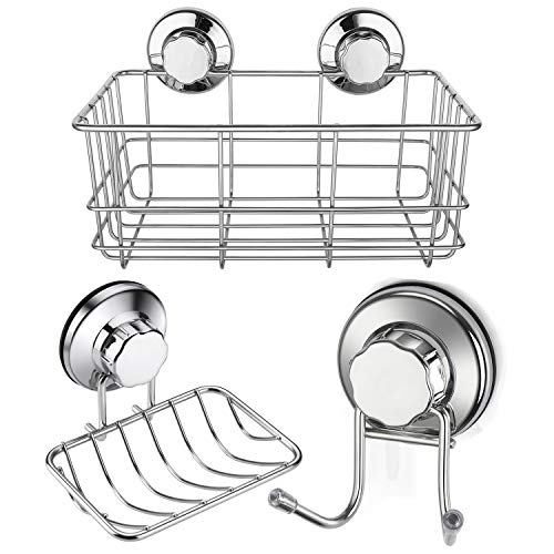 iPEGTOP Strong Suction Cup Shower Caddy Bath Organizer Storage Basket Soap Dish Holder Hooks Stainless Steel Shampoo, Conditioner Bathroom Accessories, 3 Sets