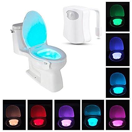 Uniad sensor Automático LED inodoro Lámpara Mesilla, LED Sensor ACTIVADO Movimiento inodoro Luz Funciona con