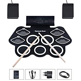 Elektronisches Schlagzeug Set mit Eingebautem Lautsprecher Drum Fußpedal Drumsticks
