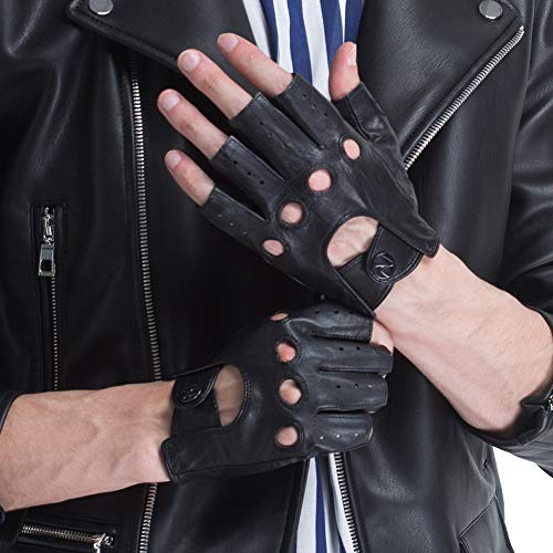 CHULRITA Men's Leather Driving Gloves Sheepskin Fingerless Unlined Motorsports Retro Half Finger Driving Fitness Motorcycle Cycling Gloves (Black, S)