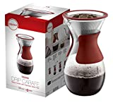 #3: Osaka Pour Over Coffee Maker with Reusable Stainless Steel Drip Filter, 37 oz (7-Cup) Glass Carafe and Lid 'Senso-JI', Red