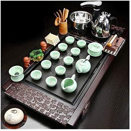 C&J CJ Juegos de té Bandeja de té de Madera sólida, Kung Fu Herramientas de té, Tradiciones Chinas de Mesa de té, Bandeja Crafts Tetera, Cultura China Juego de té (Color :