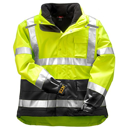 Tingley Icon 3.1 Premium 3-in-1 Insulated Jacket, ANSI/ISEA Class 3, High Visibility Green/Yellow with 2'' Silver Reflective Stripes, Removable 300 Gram Fleece Liner/Jacket, Waterproof/Breathable Outer Shell, Size: 2XL (J24172-2XL)