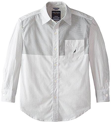 Nautica Big Boys' Yarn Dye Printed Stripe Woven with Jersey Trim, Off White, Large (Stripe Yarn Woven Dye Shirt)