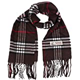 Plaid Cashmere Feel Classic Soft Luxurious Winter Scarf For Men Women (Brown)