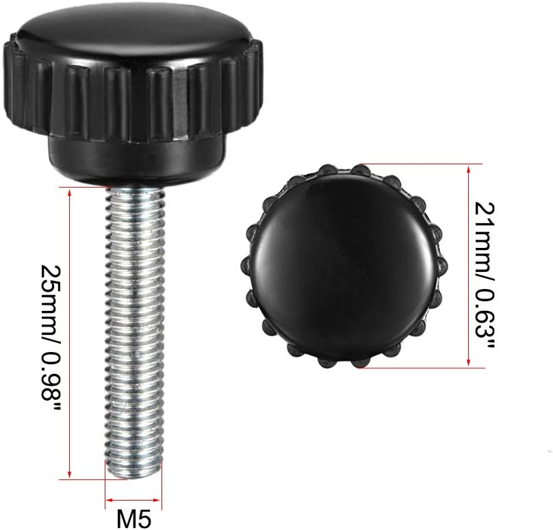 uxcell M4 x 25mm Male Thread Knurled Clamping Knobs Grip Thumb Screw on Type Round Head 10 Pcs