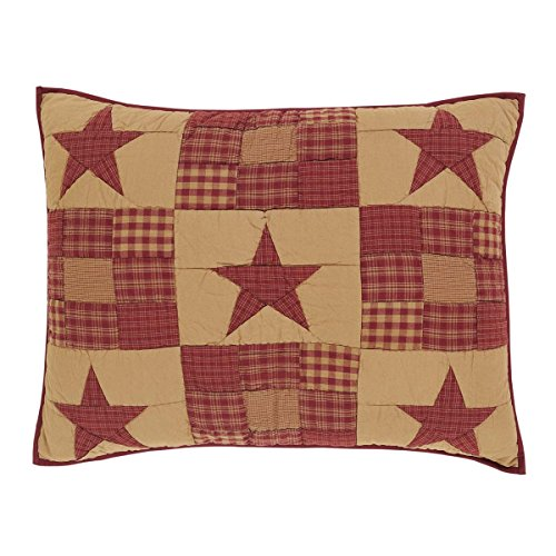 VHC Brands Classic Country Primitive Bedding - Ninepatch Star Red Sham Standard Burgundy