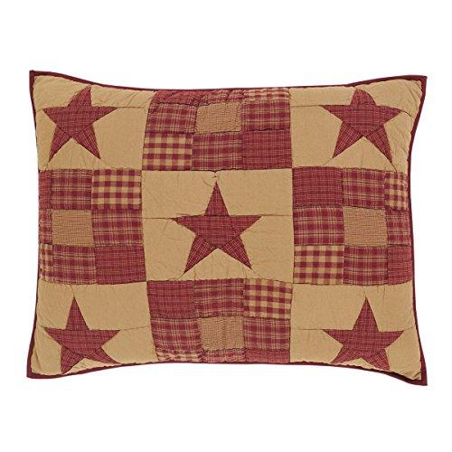 VHC Brands Classic Country Primitive Bedding - Ninepatch Star Red Sham, Standard, Burgundy