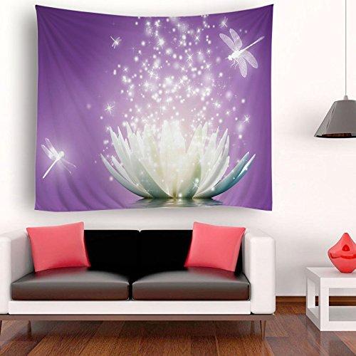 ENJOHOS Large Purple Lotus Tapestry Bedroom Wall Hanging Zen Life Spiritual Meditation for Living Room Home Decor Wall Art
