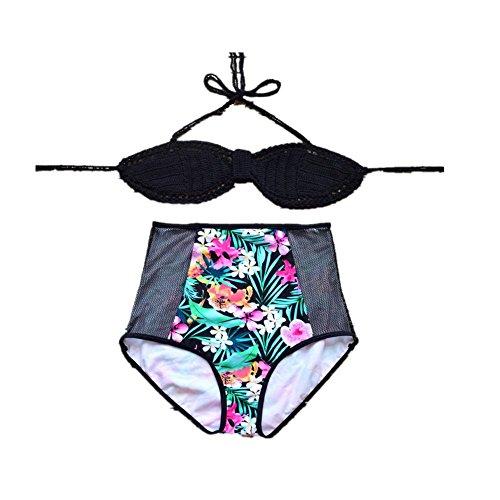SHISHANG bikini de la mano de la mujer - de punto rápida del medio ambiente - el secado de alta - la cintura Europa y el traje de baño partido Estados Unidos black with black