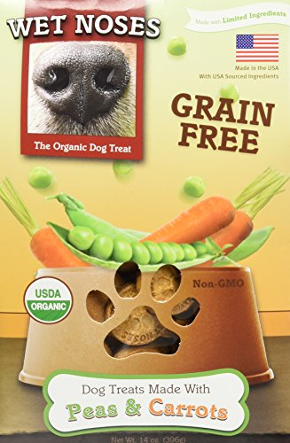 Wet Noses All Natural Dog Treats, Made in USA, 100% USDA Certified Organic, Non-GMO Project Verified, Grain Free Peas and Carrots, 14 oz Box
