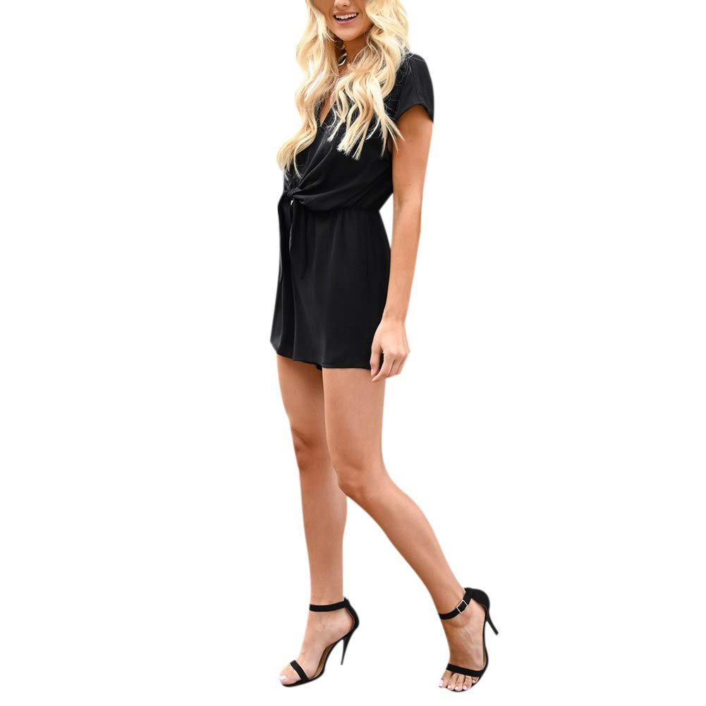 KOERIM Short Jumpsuits for Women V-Neck Casual Solid Color Playsuit Bowknot Short Summer Rompers Short Sleeve