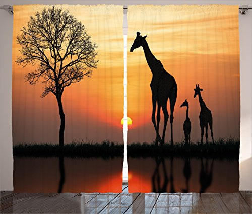 """Ambesonne Africa Curtains, Giraffes on Bushes by The Lake Surface Horizon in The Middle of Nowhere Image, Living Room Bedroom Window Drapes 2 Panel Set, 108"""" X 84"""", Black Orange"""