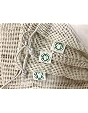 Reusable Organic Cotton Produce Bags - Cotton Mesh Bags for Grocery - Reusable Bags for Vegetable - Organic Cotton Mesh Grocery Bags - Eco Organic Bags - 6 Bags(2S, 2M, 2L)