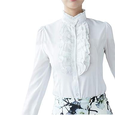 9e7dcb4c0460e Women s Vintage Victoria Ruffle Long Sleeve Shirt Blouse at Amazon ...