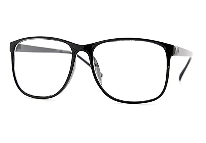 54ce8d27879 Square Rectangular Clear Lens Eyeglasses Large Thin Fashion Glasses Frame ( Black