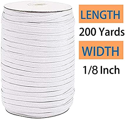 """200 Yards Length Braided Elastic Band Cord Knit Band Sewing 1//8/"""" 3mm 1//4/"""" 6mm"""