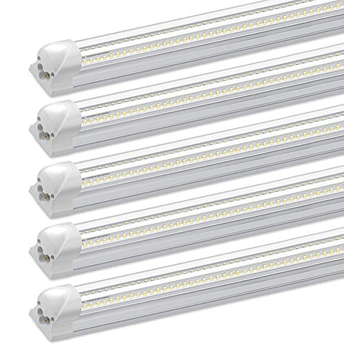 4Ft LED Shop Light, 30W, 3000LM, 6500K, T8 V-Shape Integrated Tube Light Fixture, Hight Output, Brighter White, LED Tube Light for Garage, Warehouse, Plug and Play (Pack of 5)